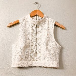 Forever 21 High Neck Lace Crop Top
